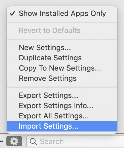 Shuttle Settings Import